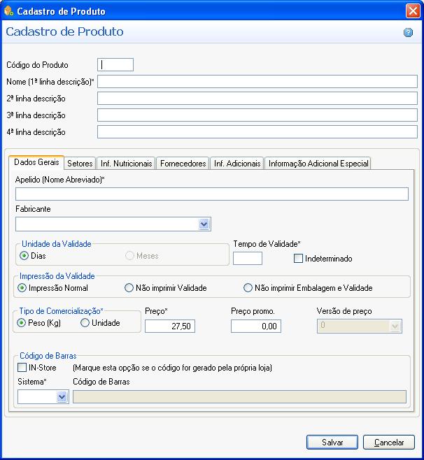 04fb3a3403fba A tela de cadastro de produtos possui seis abas  Dados Gerais